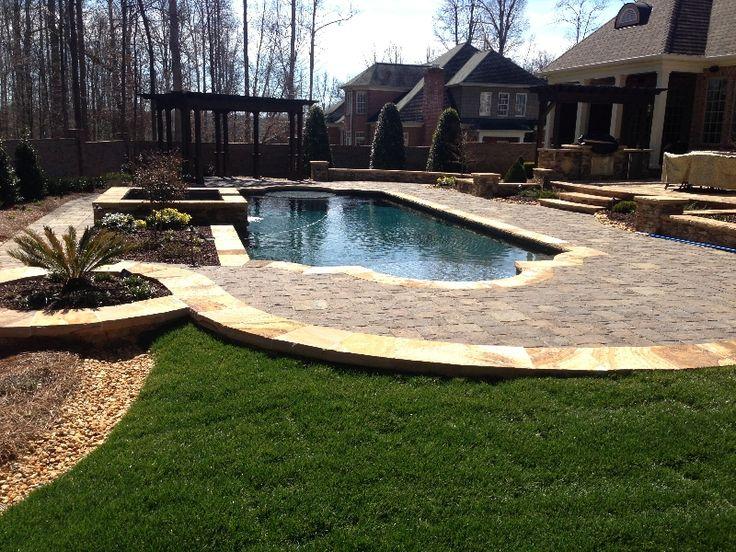 Concrete Pool Photos Geometric Pool Design With Raised Spa Pool Landscaping Pool Decking