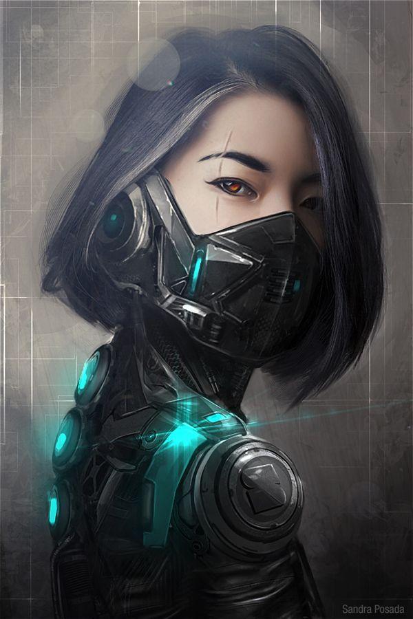 Cyber warrior by Sandra Posada López, via Behance (For some reason she reminds me of a fremen)