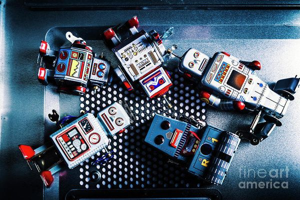 Creative scene of robotic past with a heap of bygone robots out of android charge. Cyborg technology reset by Jorgo Photography - Wall Art Gallery