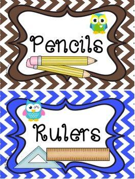 BACK TO SCHOOL SUPPLY LABELS: OWL AND CHEVRON THEME - TeachersPayTeachers.com