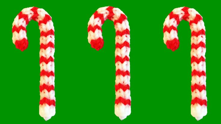How to Make Loom Bands Christmas Candy Cane Rainbow Loom Christmas Charms tutorial by DIY Mommy.