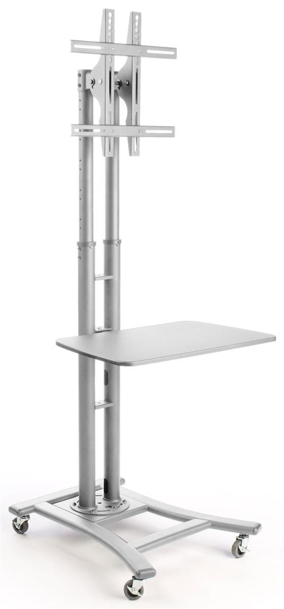 """TV Stand w/ 28"""" Shelf, Fits Monitors 32"""" to 70"""", Height-Adjustable –Silver"""
