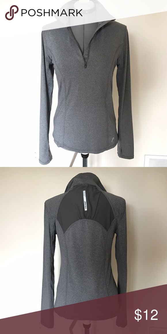 HEAD heather gray athletic shirt Women's HEAD heather gray athletic shirt, size small. Quarter zip, thumb holes in the sleeves. Cute shirt in excellent, like new condition! HEAD Tops