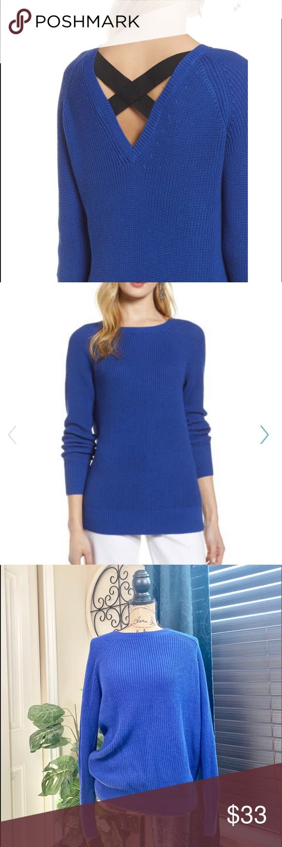 Halogen sweater New royal blue crossback sweater that a v back with elastic stra…