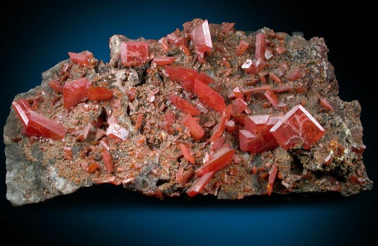 Wulfenite Overall size of mineral specimen: 11x5.5x6 cm. Size of individual crystals: 1-12 mm Price: $4850