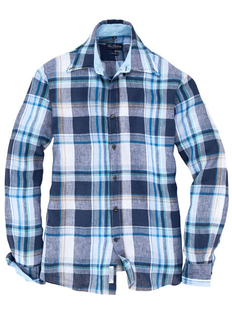 Tom Rusborg - sportives Leinenhemd mit blauem Karomuster