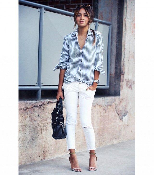 Julie Sarinana z poważaniem Jules Na Sarinana: Madewell Rynku popover Shirt (78 $);  Wolni ludzie Zniszczony kostki Skinny Jeans (78 $);  obcasy Isabel Marant.