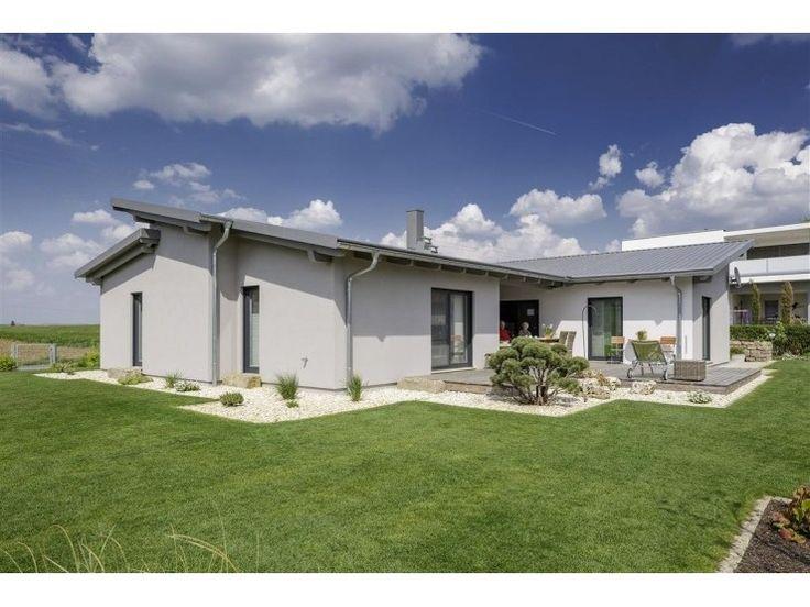 Bungalow pultdach 145 modernes fertighaus von luxhaus for Bungalow modern mit garage