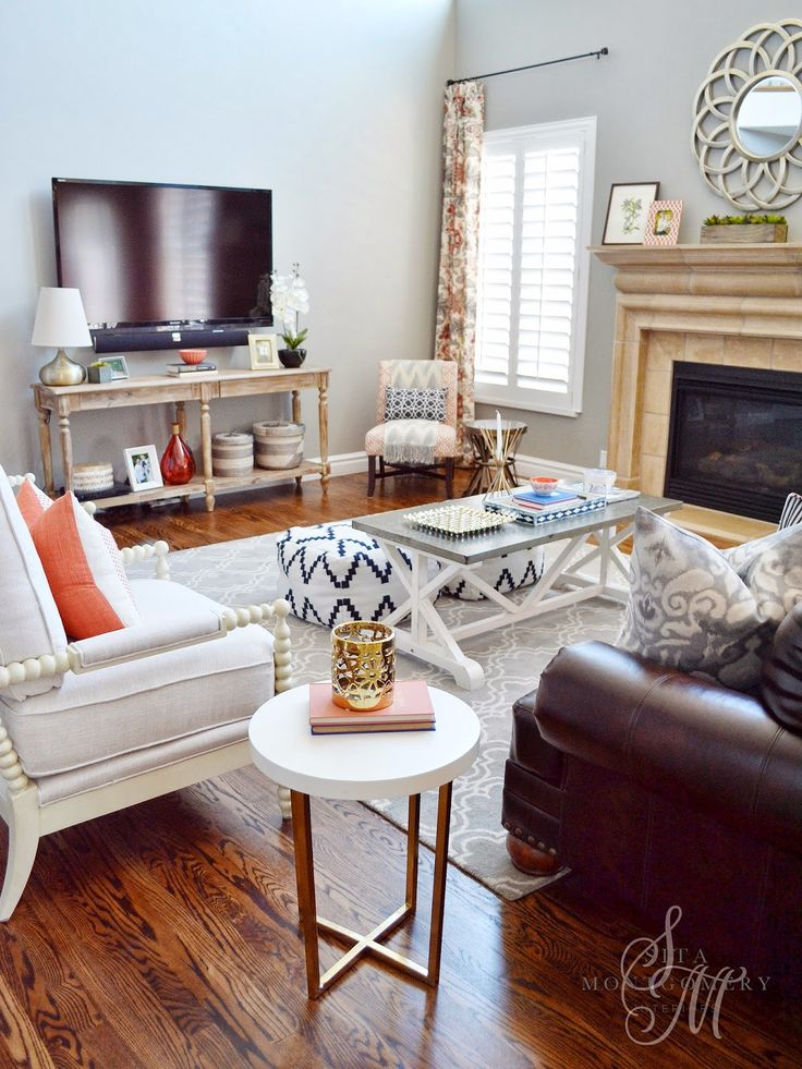 Brown Living Room Set Decor Ideas With The Color Orange: Sita Montgomery Interiors: Client Project Reveal: The
