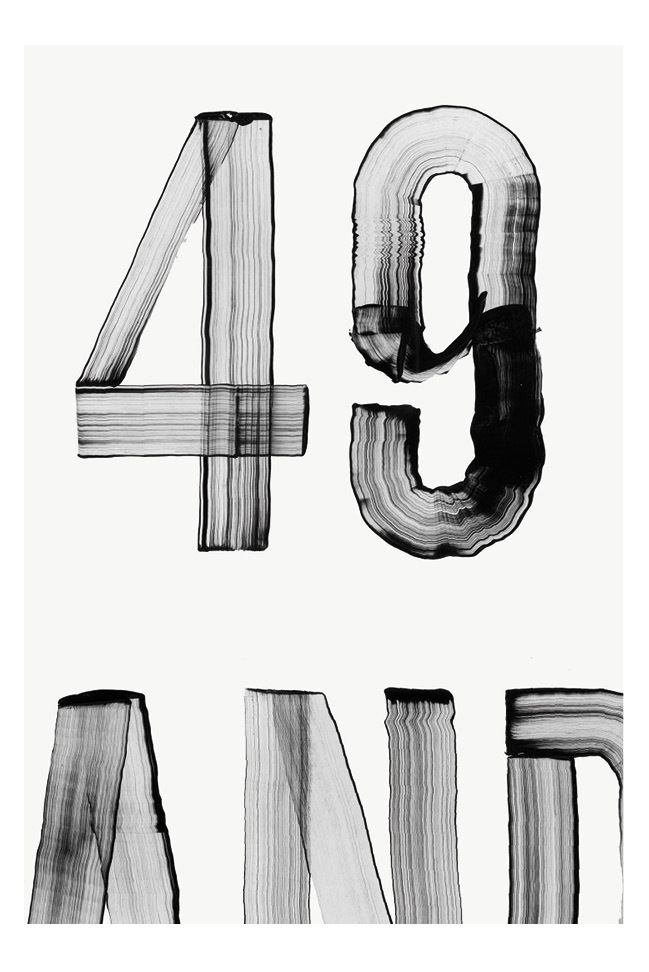 I like how the type looks brushed or scraped but still looks clean and simple, each letter is different in how it's been made.