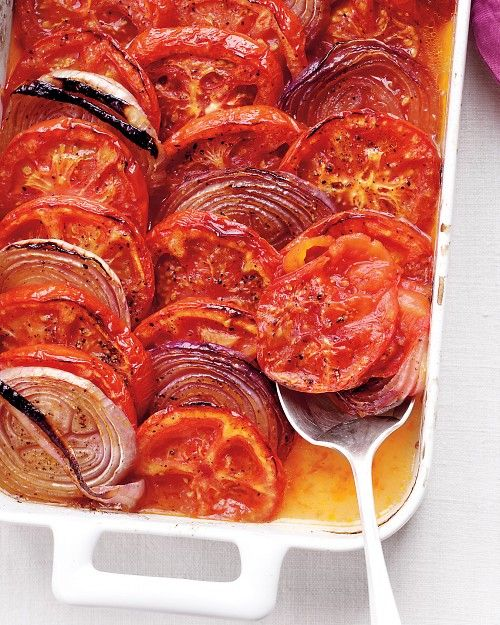 Tomato-Onion Casserole - Red onion slices become sweet and tender when baked in a 450-degree oven with juicy tomatoes. This easy casserole is good warm or at room temperature, and makes a great companion to any grilled meat.