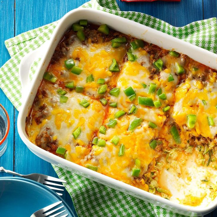 Zucchini Pizza Casserole Recipe -I grow zucchini by the bushel, so this pizza casserole is one of my dinnertime go-to's. My hungry husband and kids gobble it right up. —Lynn Bernstetter, White Bear Lake, Minnesota