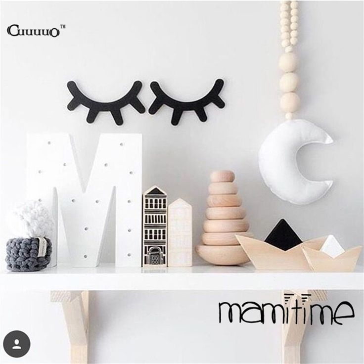 buy 4 colors ins wood eyelash wall sticker decorations ornament home furnishing for baby kid room bedroom decorative wooden decor from mobile site on