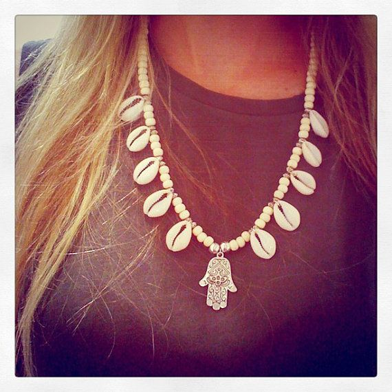 Hamsa And Cowrie Shell Necklace boho shells tan gypsy bohemian silver on Etsy- can't wAit :)