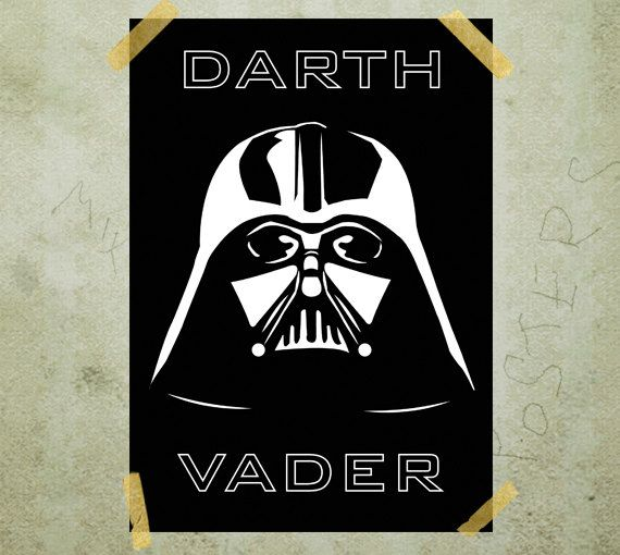 Darth Vader helmet Star Wars poster print A3 by MixPosters on Etsy, $17.00