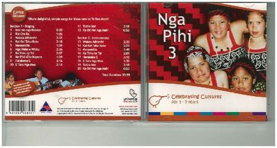 Nga Pihi 3 is a fresh collection of simple, easy-to-learn songs in Maori. Aunty Tawai Te Rangi's input takes the Nga Pihi series to a new level. These songs communicate the Maori way of life, both traditional and contemporary. Instrumental versions of some songs enable other activities such as karaoke-style group singing and movement.