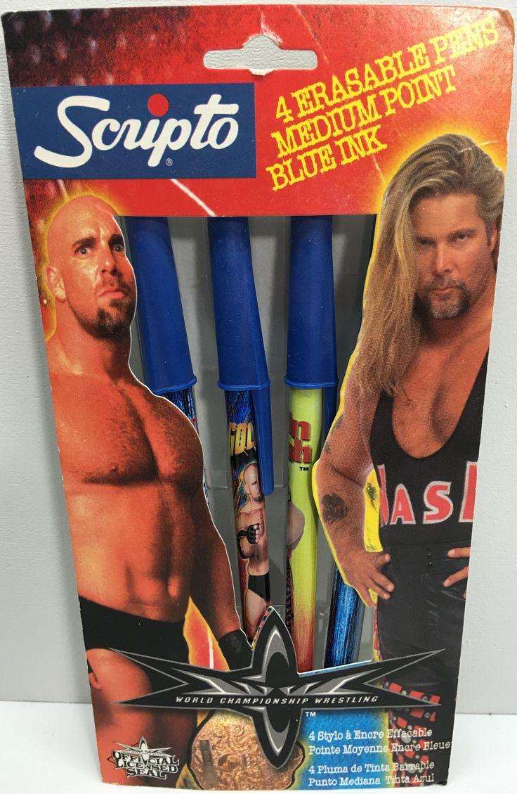 (TAS033103) - 1999 Scripto WCW WWE Wrestling Erasable Pens - Goldberg & Nash