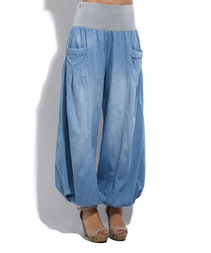 Blue Wash Denim Harem Pants