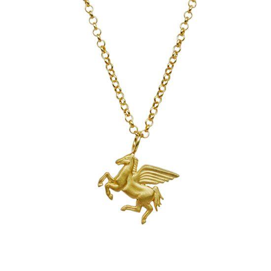 Pegasus, gold plated silver pendant