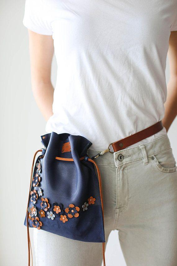 Blue Bag Floral Bag Drawstring bag Leather Pouch Bag