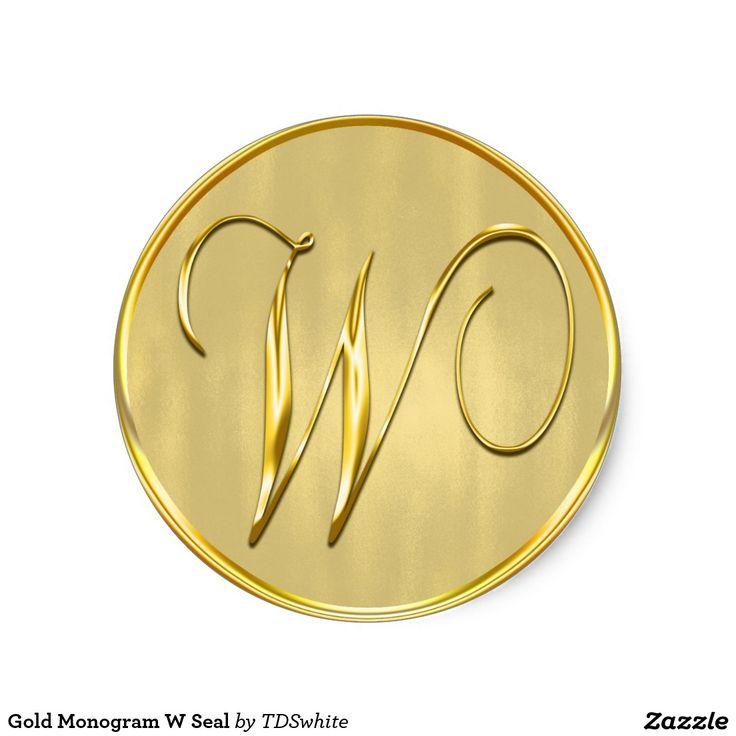 monogram wedding envelope seals sticker%0A Gold Monogram W Seal