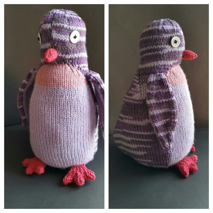 Purple penguin. Pattern from 'Knitted wild animals' by Sarah Keen