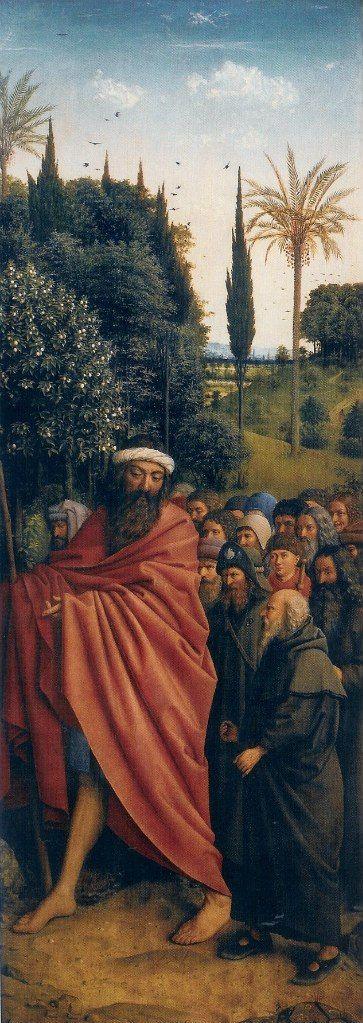 Гентский алтарь, Святой Христофор и паломники, 1432 ван эйк