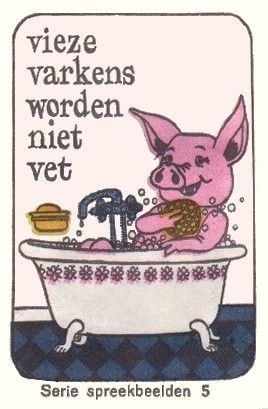 Vieze varkens worden niet vet. Dat wil zeggen : kieskeurige varkens worden niet vet. 'Vies' betekende vroeger : kieskeurig. Bij overdracht: kinderen, die al te kieskeurig zijn, gedijen niet. Daarmee wordt dus bedoeld dat je niet al te kieskeurig moet zijn wat eten betreft. Dus: gewoon opeten wat je wordt voorgezet, en er niet over zeuren. E: Dainty pigs never grow fat. F: Mange ta soupe, sinon tu ne grandiras pas! D: Suppenkasper werden nicht groß und stark.