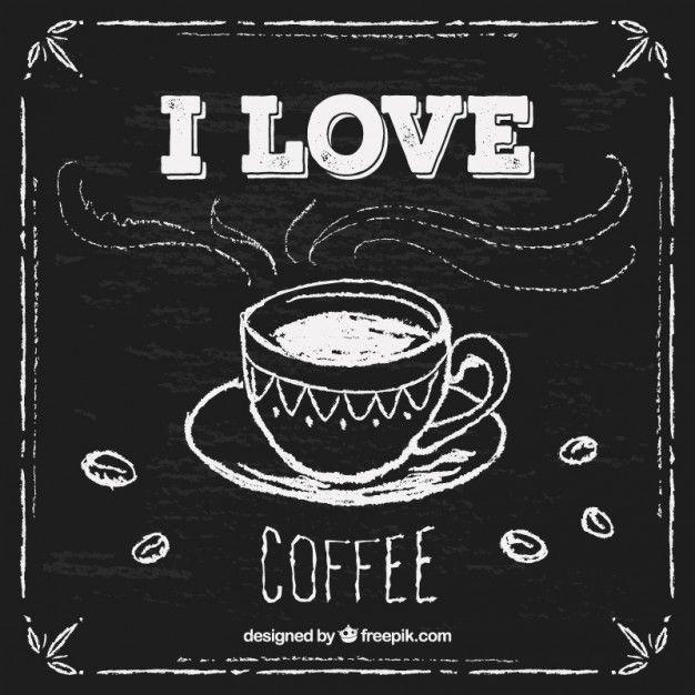 Desenho copo de café no quadro-negro