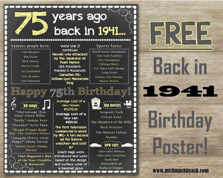 Back in 1941, Happy 75th Birthday, 75th Birthday decor www.mishmashbyash.com                                                                                                                                                                                 More