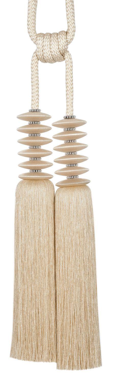 6 Designs & 15 Colourways. 35084 Onyx Key Tassel - Height: 5cm Weight: 10g - Composition100PES 35305 Onyx 2 Tassel Tieback - Length: 90cm Height: 35cm