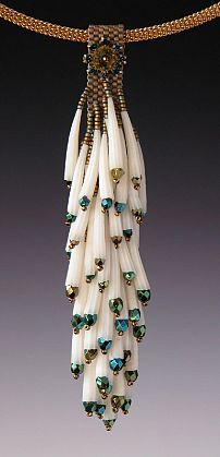 """Kay Bonitz - 'KBZ 122 Dentalium shells, fire polished beads, swarovski crystal & component, Japanese delica and seed beads Necklace w/ Gold plated brass 16"""" cable' - Red Sky Gallery"""