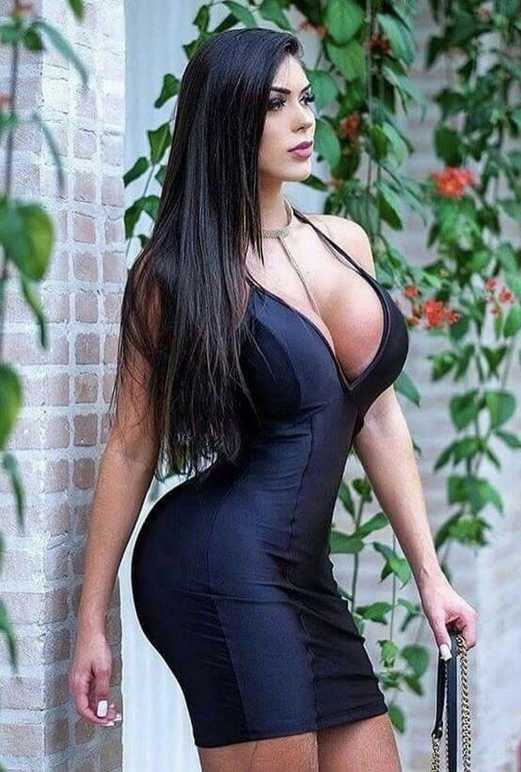Big boobs in tight black dress — img 8