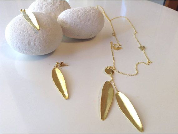 Two Leaves SET  Long necklace and Earrings Gold by PlusLoveStudio