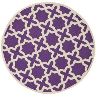 Safavieh Handmade Cambridge Moroccan Purple Wool Rug (6' Round)