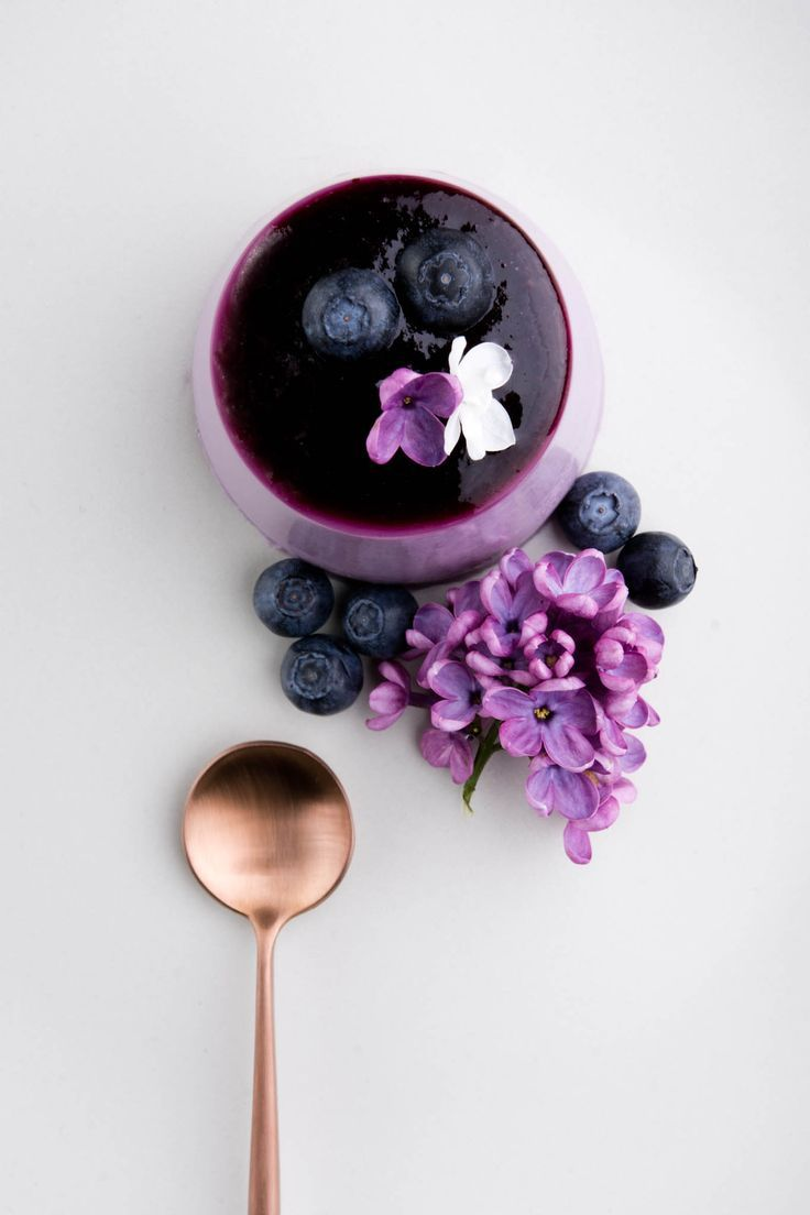 A recipe for a show-stopping purple panna cotta - Blueberry and Lilac Syrup Panna Cotta.