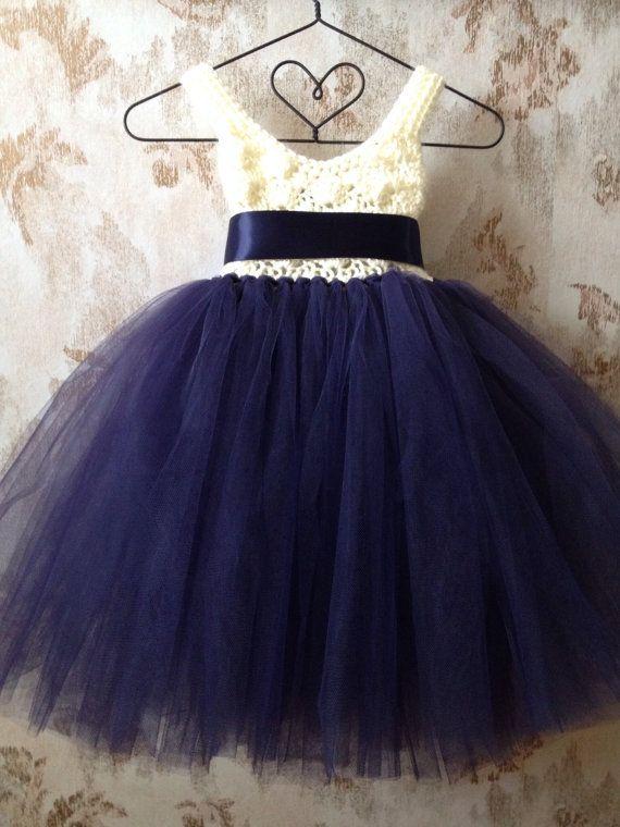Navy blue and ivory umpire flower girl tutu dress crochet by Qt2t, $69.99