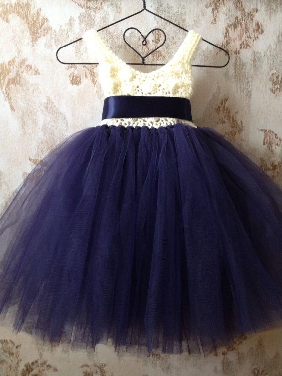 Navy blue and ivory umpire flower girl tutu dress crochet by Qt2t, $79.99