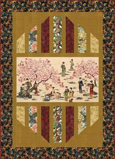 "Oriental Traditions Crimson Reflections Quilt Kit 56.5"" by 77.5"""