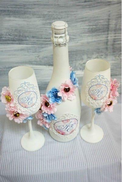 Свадебные бокалы для молодоженов, ручная работа