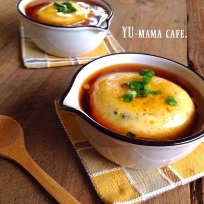 ふわふわ♡レンジ豆腐卵蒸しの甘酢あんかけ〜炒め玉ねぎとクルミのパン ...