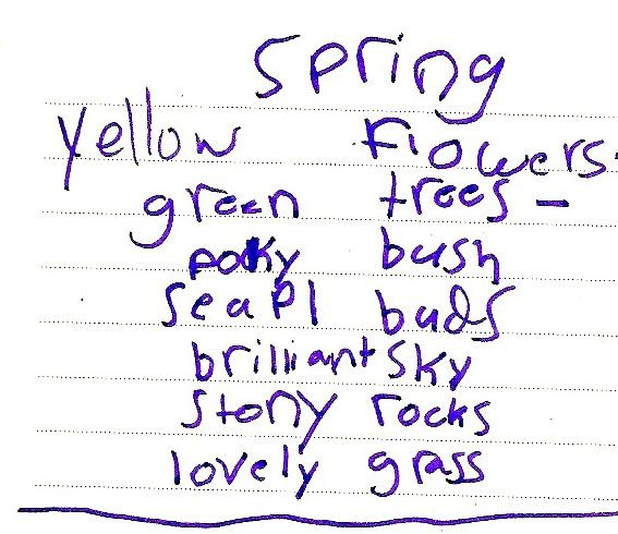 easy poetry for beginning writers - a list poem
