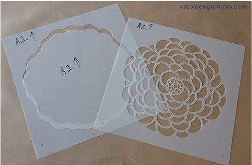 Paredes con flores con stencil o estarcido 1 stencil - Como hacer plantillas para pintar paredes ...