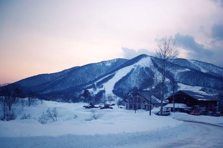 Sunset winter dusk light at Madarao Mountain Ski Resort Japan