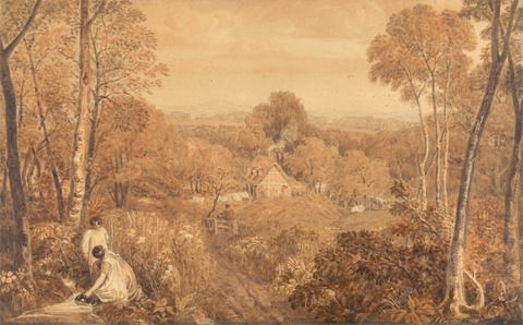 Joshua Cristall, 1768–1847, British, Wooded Landscape with Cottages and Countrywomen, Hurley, Berkshire, 1818, Watercolor and graphite, with scraping on thick, slightly textured, beige card, Yale Center for British Art, Paul Mellon Collection