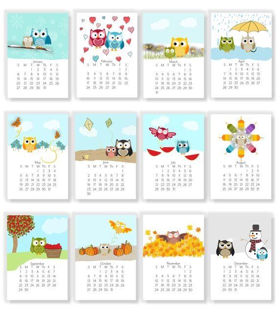 2019 Adorable Owl Monthly Calendars Instant Download Etsy Ideas De Calendario Calendario Para Imprimir Gratis Calendario Para Ninos