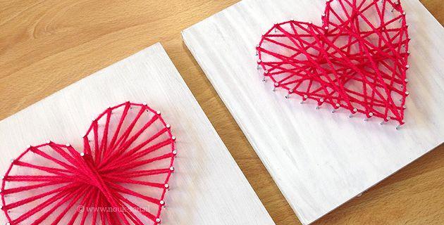 DOE-HET-ZELF - Maak een mooi hart met hout, spijkers en wol voor jouw moeder! http://www.nouk-san.nl/doe-het-zelf-moederdag-hart/