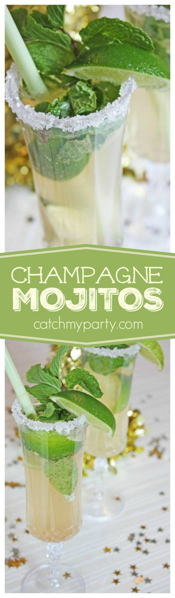 Champagne Mojitos great to serve on New Year's Eve or at your summer party! | CatchMyParty.com