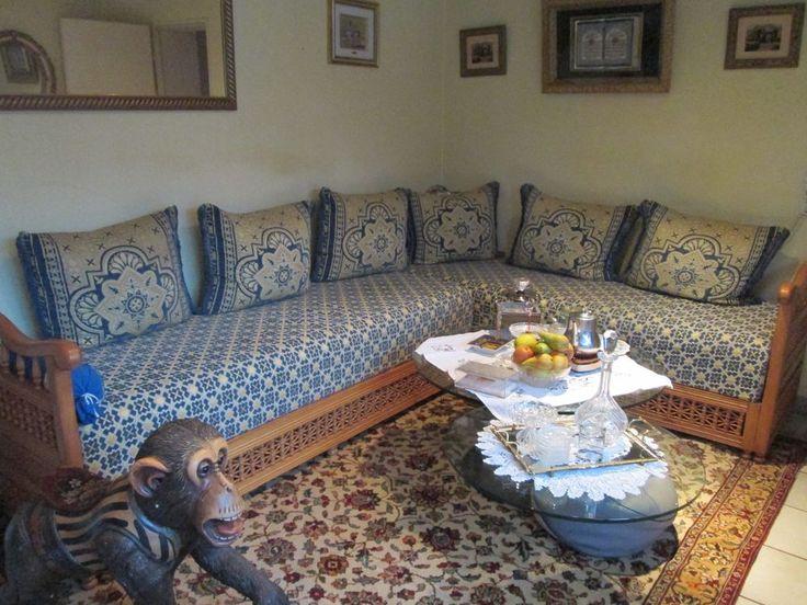 Marokkanische Sedari / Sitzgarnitur / Sofa mit Holzgestell