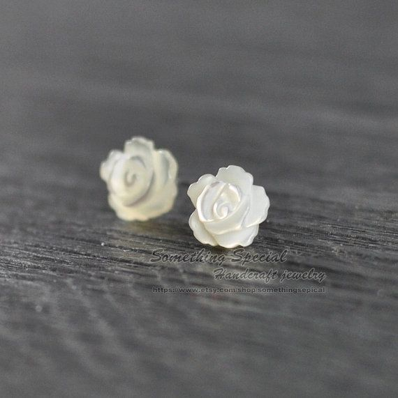 Flower earrings Sterling silver shell flower stud earrings Tiny shell flower studs rose flower post earring Dainty Bridal everyday jewelry